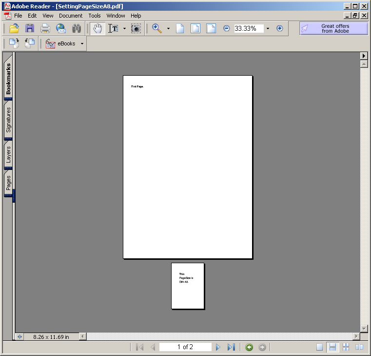 Setting Page Size: A8