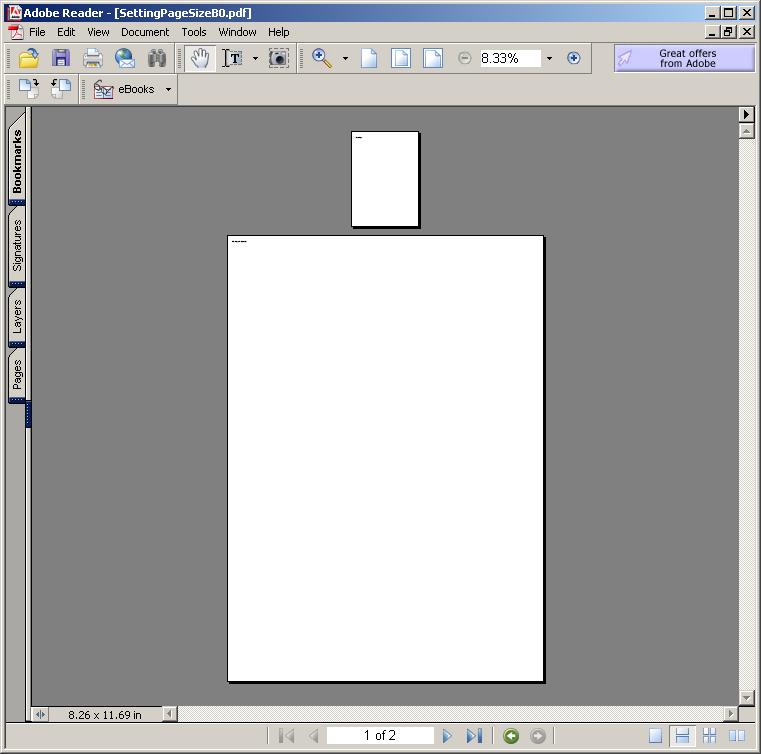 Setting Page Size: B0