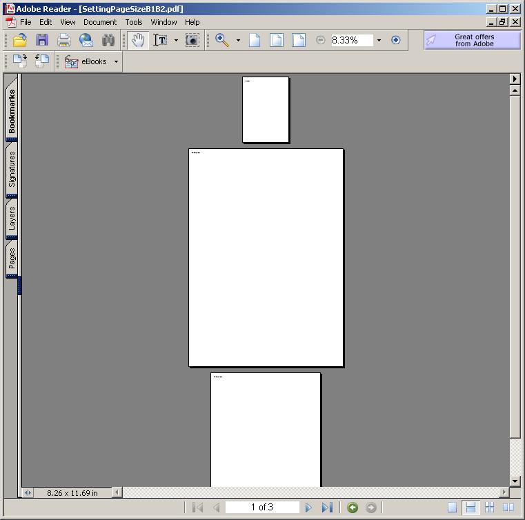 Setting Page Size: B1, B2