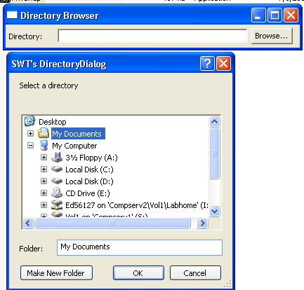 Demonstrates the DirectoryDialog class