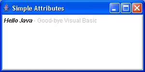 SimpleAttributeSet Example
