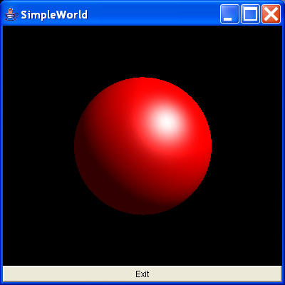 A red sphere using the Sphere utility class