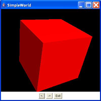 This program uses AWT buttons to allow the user to rotate an object