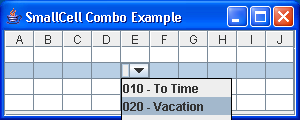 Small Cell Combobox Example