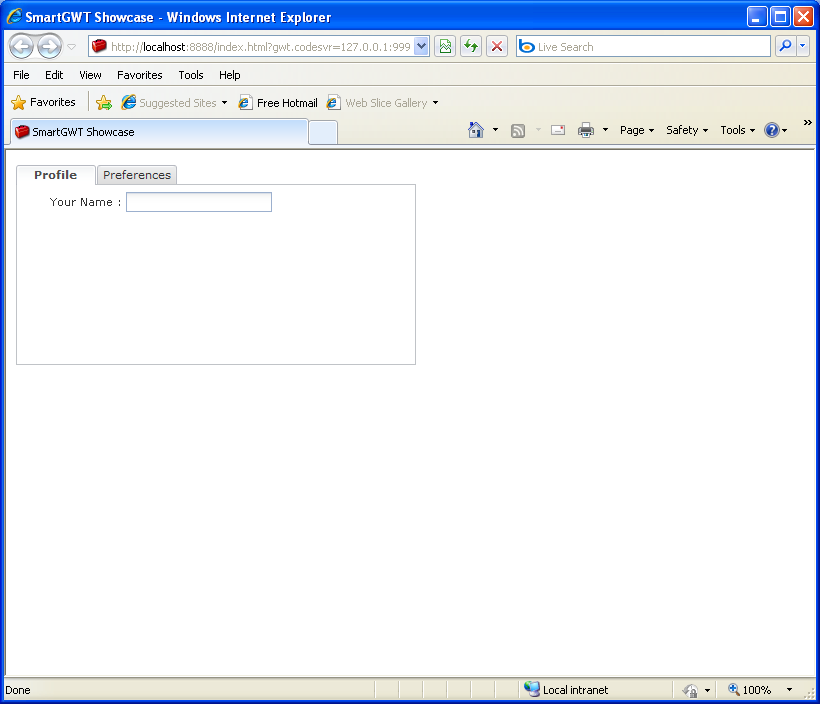 Add controls to Tab page (Smart GWT)