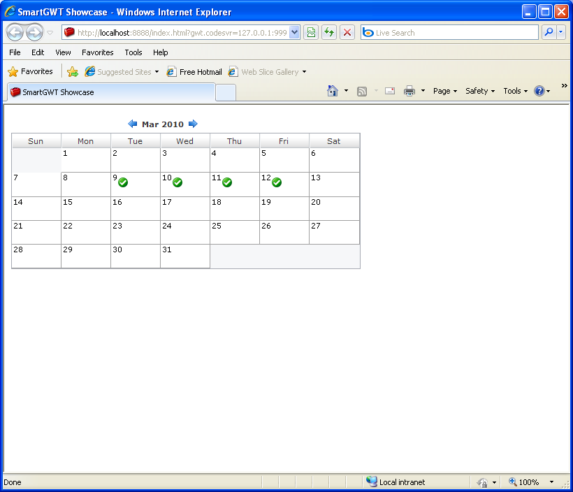 Compact Calendar Sample (Smart GWT) : Calendar « GWT « Java