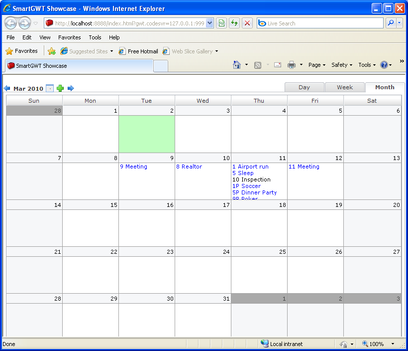Custom Event Calendar Sample (Smart GWT)