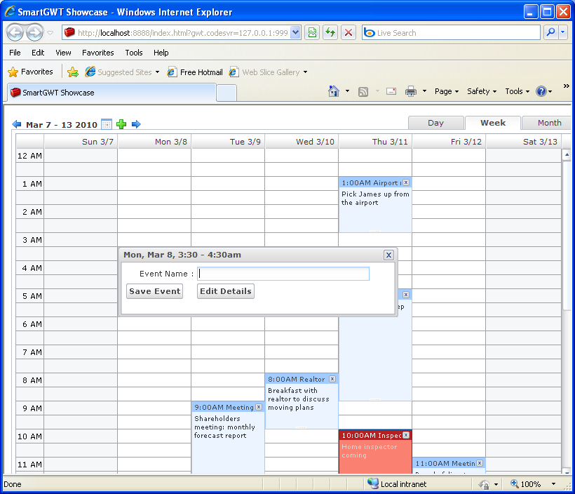 Data Bounded Calendar Sample (Smart GWT)