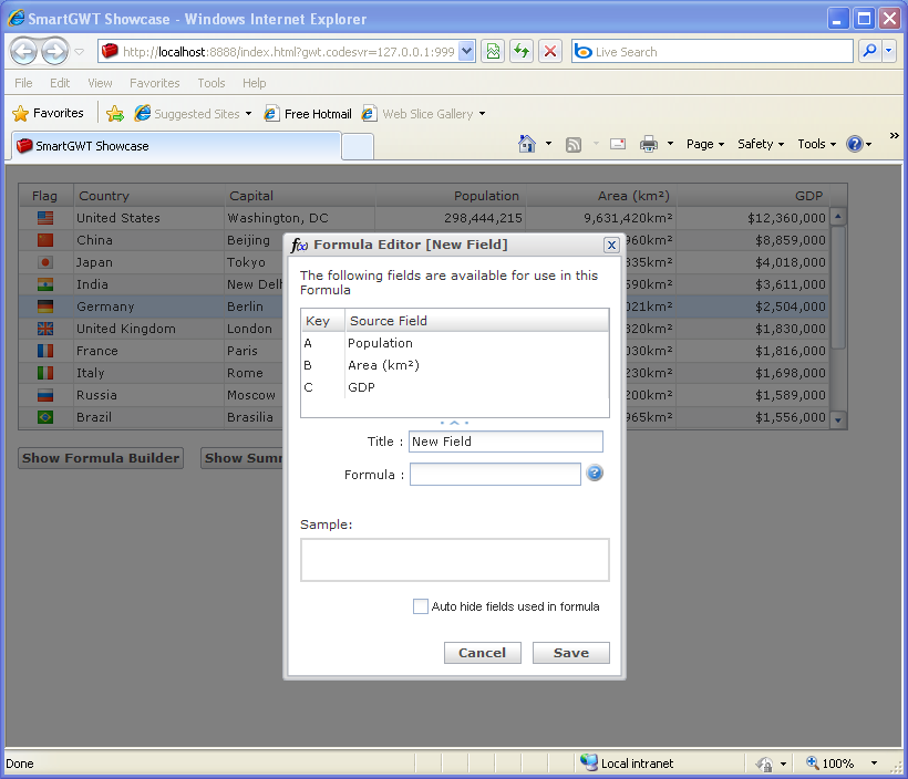 Formula Summary Builder Sample (Smart GWT)