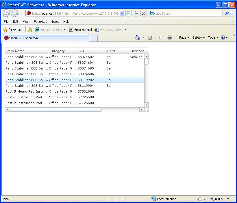 Grid Dynamic Freeze Sample (Smart GWT)