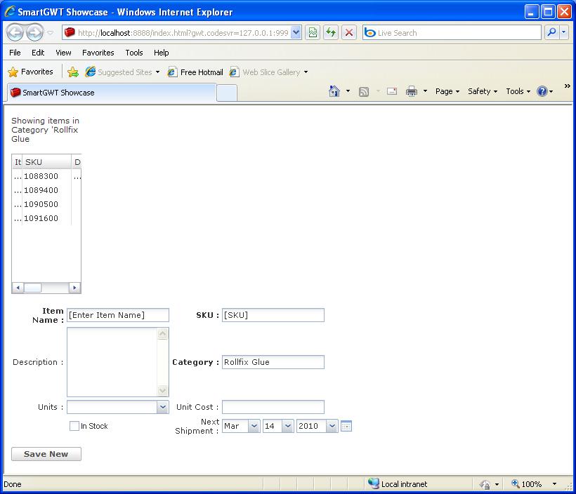 Grid Form Add Sample (Smart GWT)