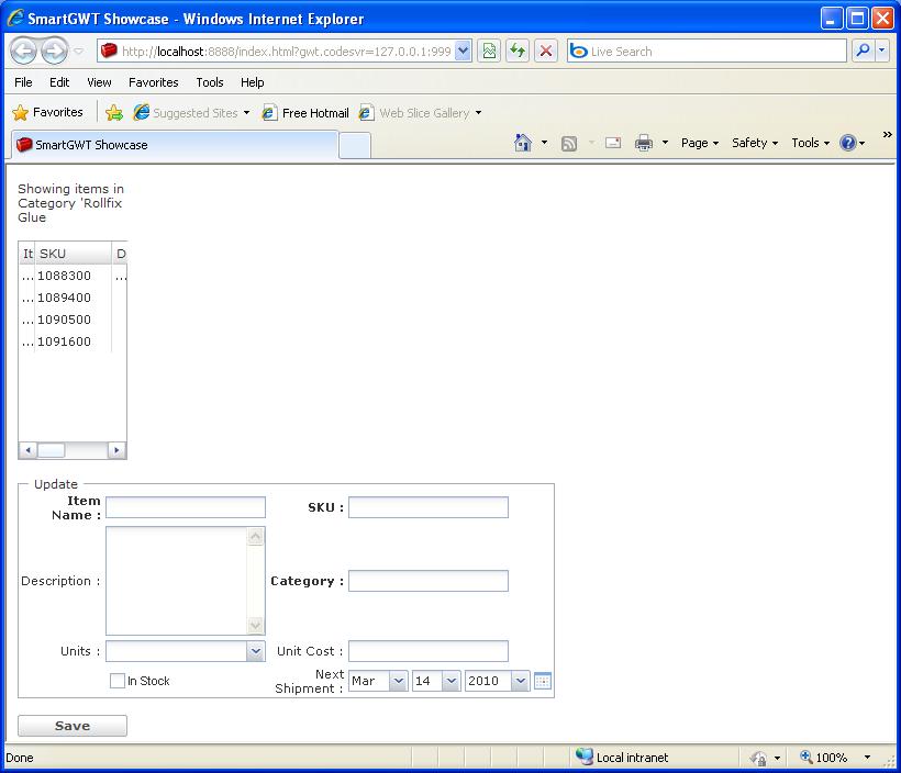 Grid Form Update Sample (Smart GWT)