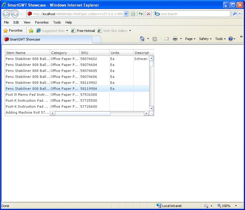 Grid Simple Freeze Sample (Smart GWT)
