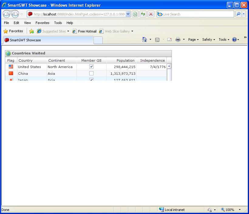 Grid Top Header Sample (Smart GWT)