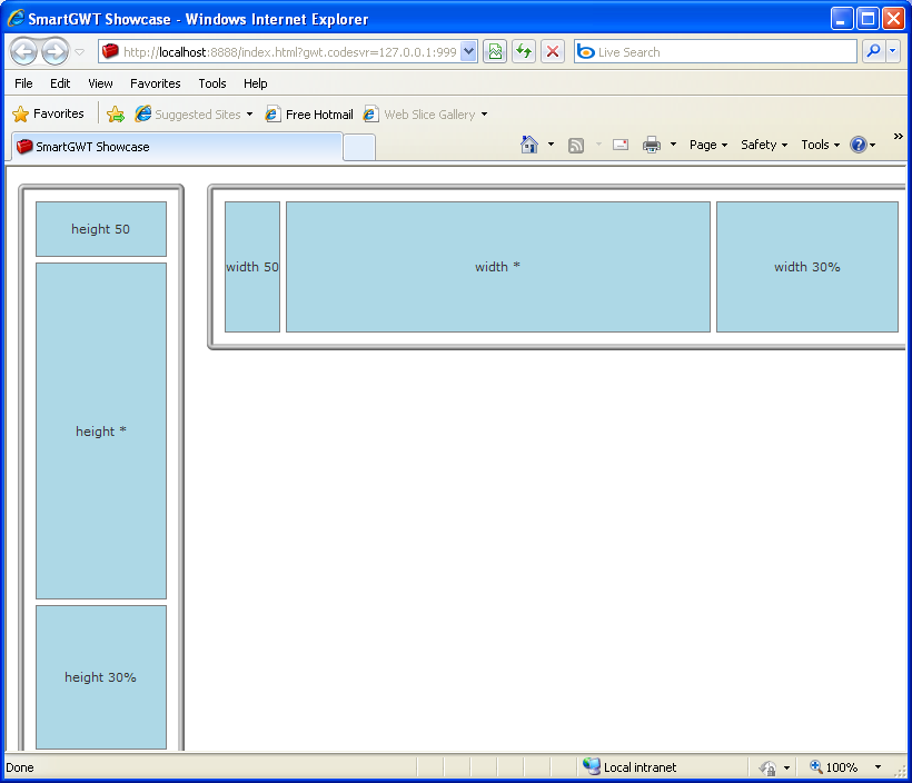 HLayout/VLayout manage the stacked positions and sizes of multiple member components (Smart GWT)