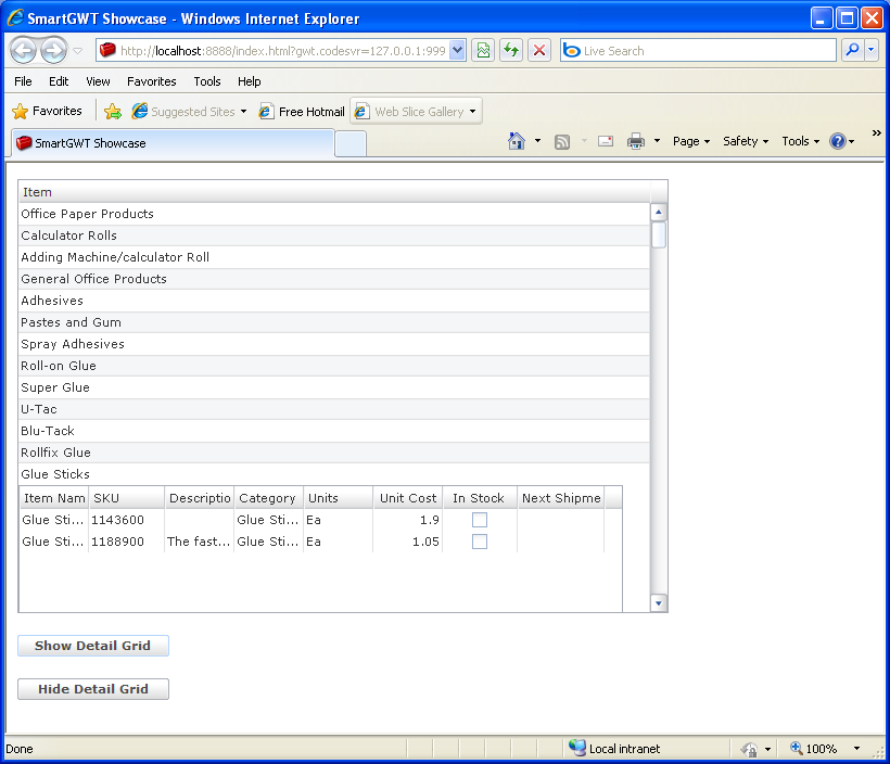 Nested Grid in another Grid cell Sample (Smart GWT)