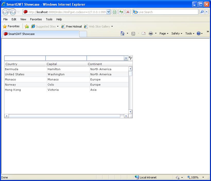 Table Autofit Filter Sample (Smart GWT)