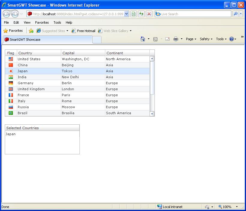Table Single Select Sample (Smart GWT)