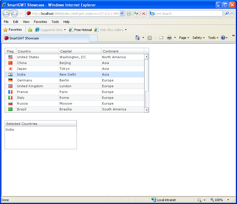 Table with Multiple Selection Sample (Smart GWT)