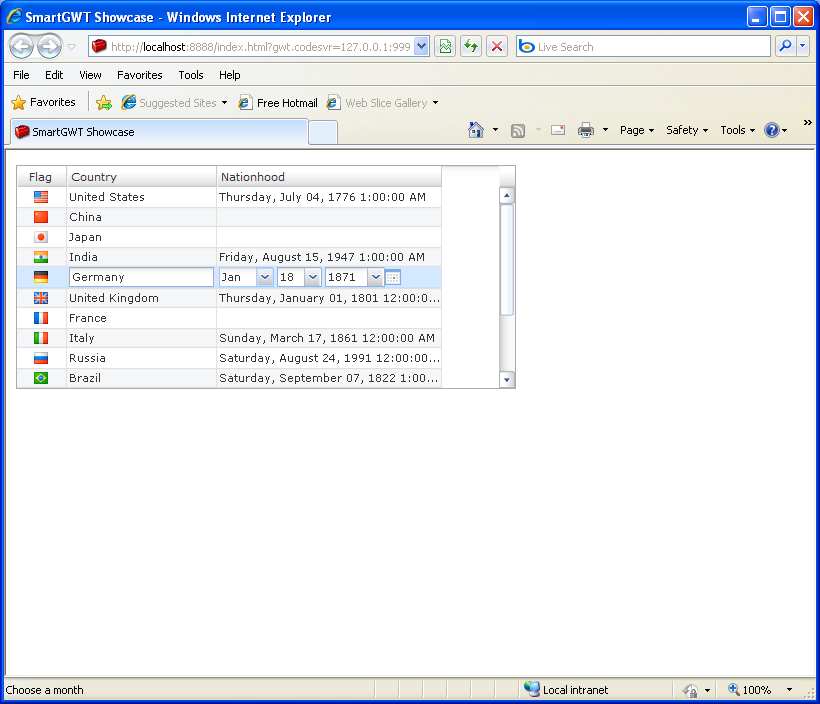 Time editor (Smart GWT)