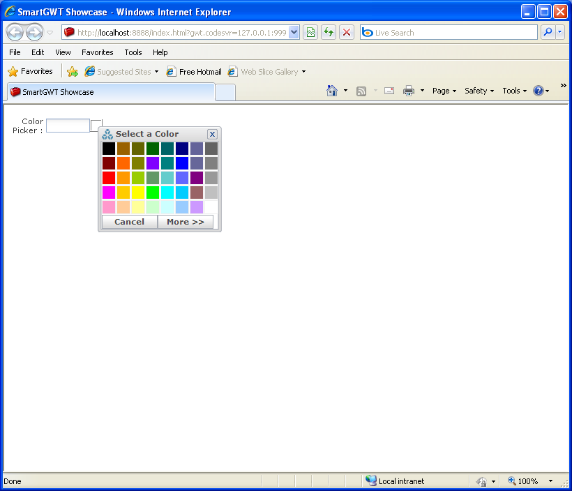 Using ColorPickerItem to create color picker (Smart GWT)