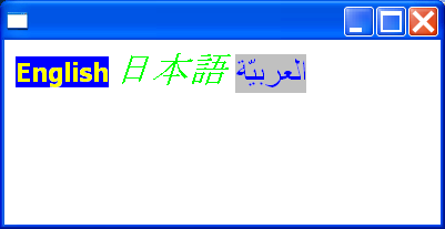 Draw internationalized styled text on a shell