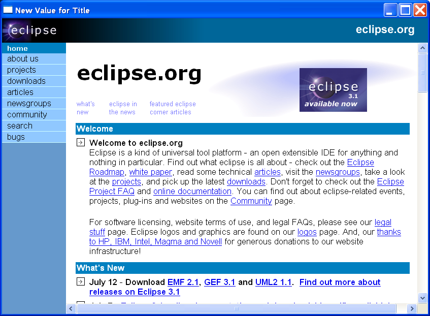 Modify HTML title tag : Browser HTML « SWT JFace Eclipse « Java