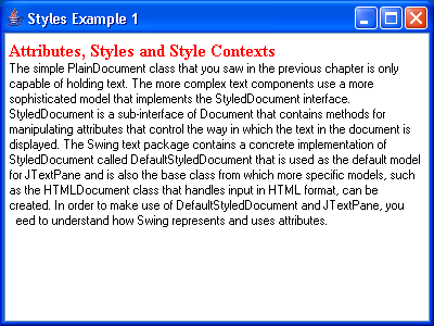 JTextPane Styles Example 1
