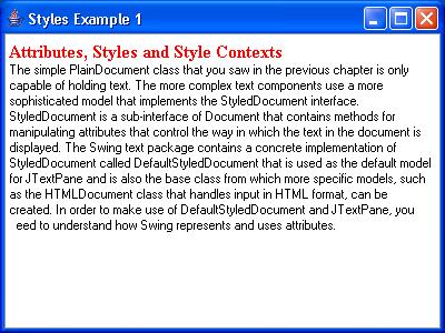 JTextPane Styles Example 1