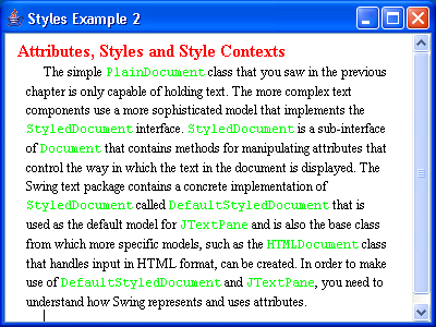 JTextPane Styles Example 2