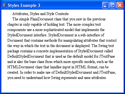 JTextPane Styles Example 3