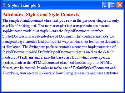 JTextPane Styles Example 5