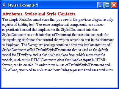 JTextPane Styles Example 5
