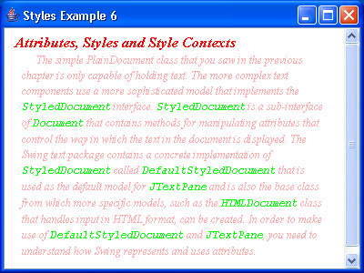 JTextPane Styles Example 6