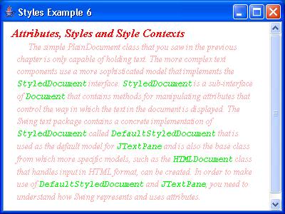 JTextPane Styles Example 6