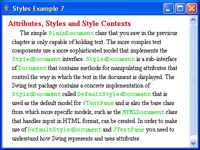 JTextPane Styles Example 7