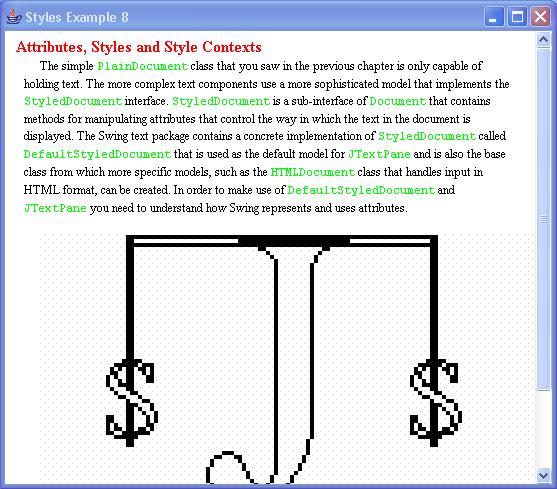 JTextPane Styles Example 8