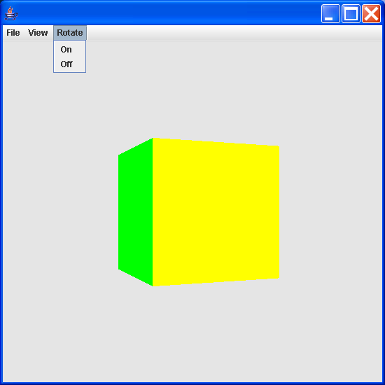 Swing based application displaying a Cube and a Sphere
