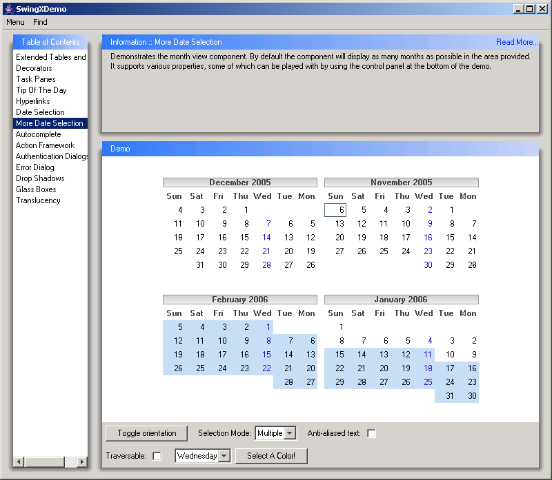 calendar in a jwindow calendar 171 swing components 171 java