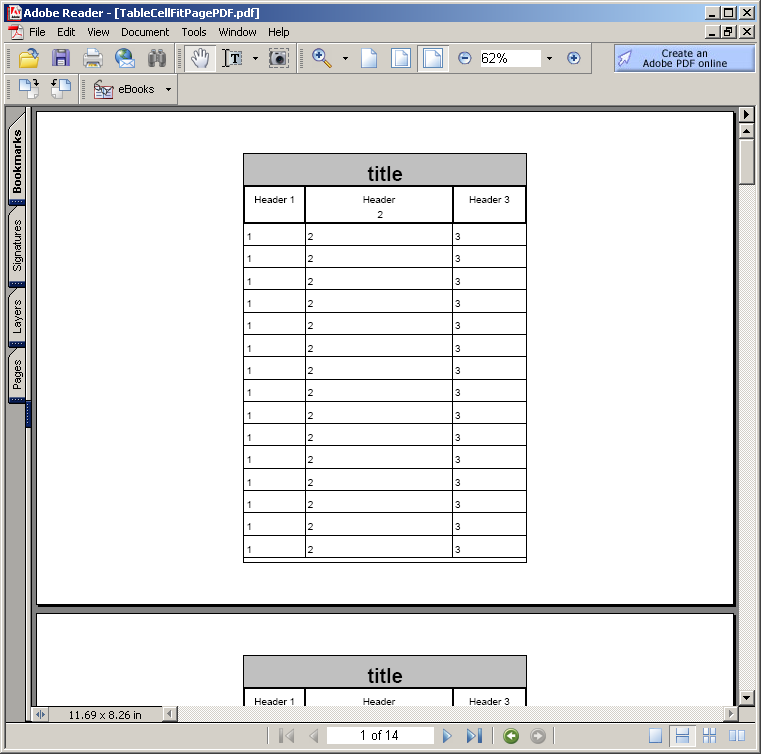 Table Cell Height : Table Cell Size « PDF RTF « Java