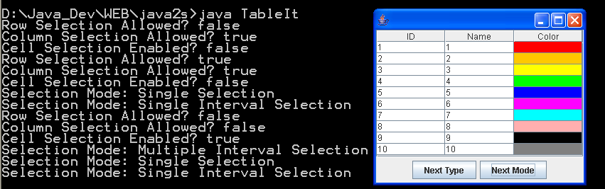 JTable selection events