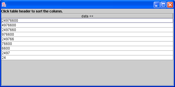 JTable sorter:click the table header to sort a column and a table