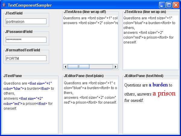 An example of several text components including password fields and formatted fields.