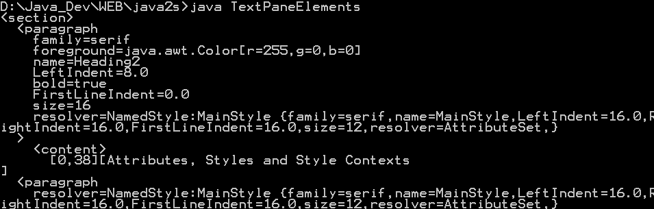 TextPane Elements