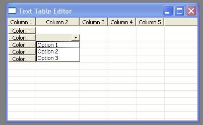 Demonstrates TableEditor