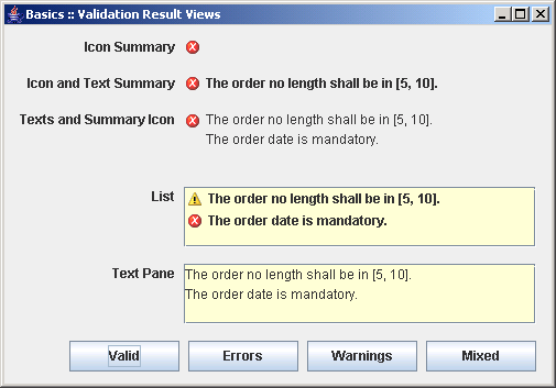 Different validation result views