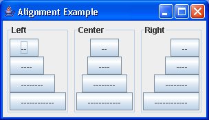 BoxLayout Component alignment