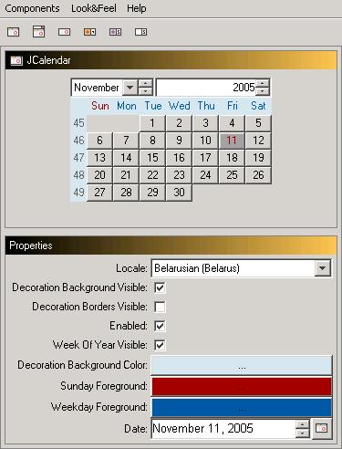 toedter: Java Calendar