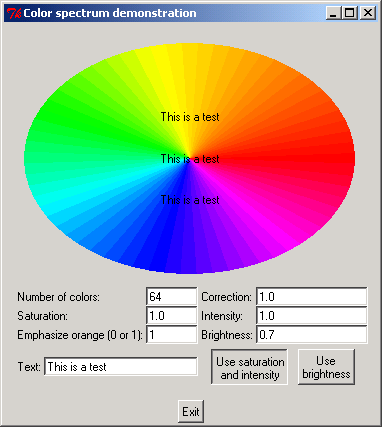 Color spectrum demonstration
