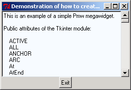 Demonstration of how to create a megawidget